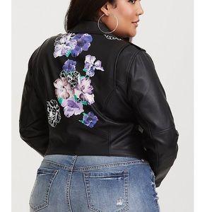 NWOT Torrid Floral  Faux Leather Moto Jacket Sz 0X
